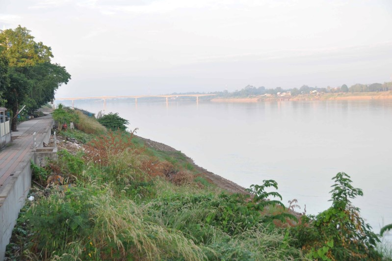 View of the Thai-Lao friendship bridge from our guesthouse - Vientiane, Laos is right across the river.