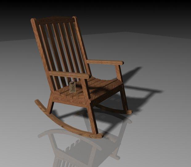 Annie Wooden Rocking Chair Free 3D Model  3ds obj