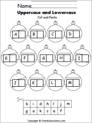 Free Christmas Ornament Letter Matching (N to Z