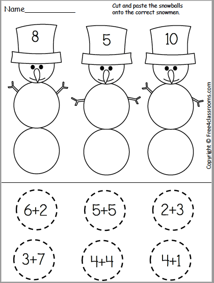 Free Snowman Addition Cut and Paste Worksheet for