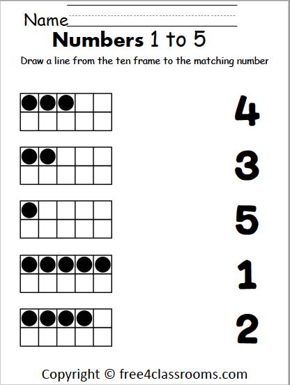 Free Number Matching Worksheet – 1 to 5