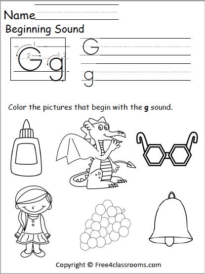 Free Beginning Sounds Worksheet – Letter G