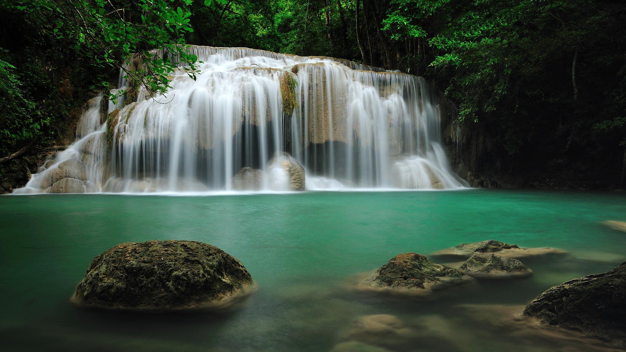 Free Fall Wallpaper For Ipad 2 Erawan Falls Thailand Hd Wallpaper
