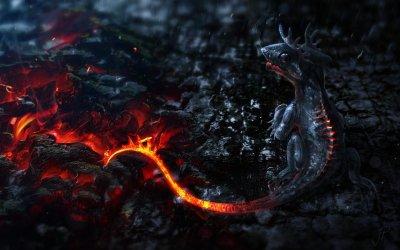 Baby Fire Dragon HD wallpaper
