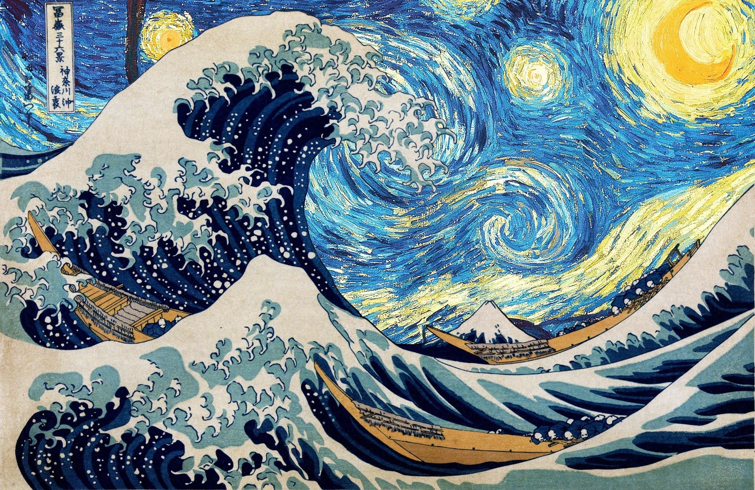 The Great Wave of Kanagawa Starry Night HD wallpaper