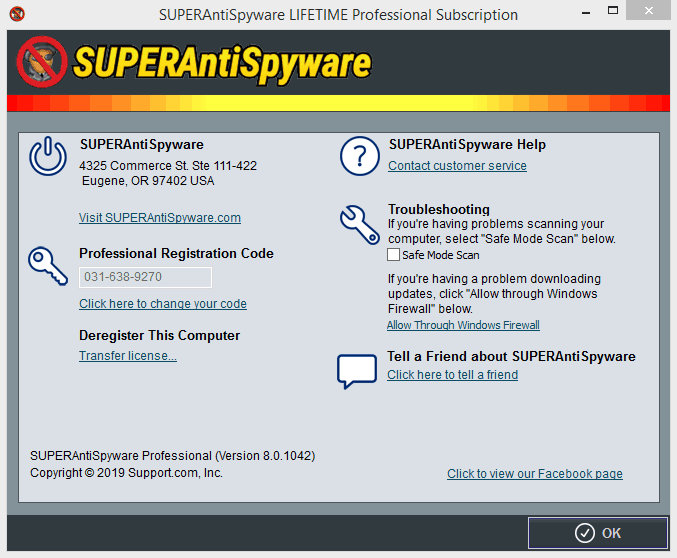 SUPERAntiSpyware Professional 8.0.1042 License key