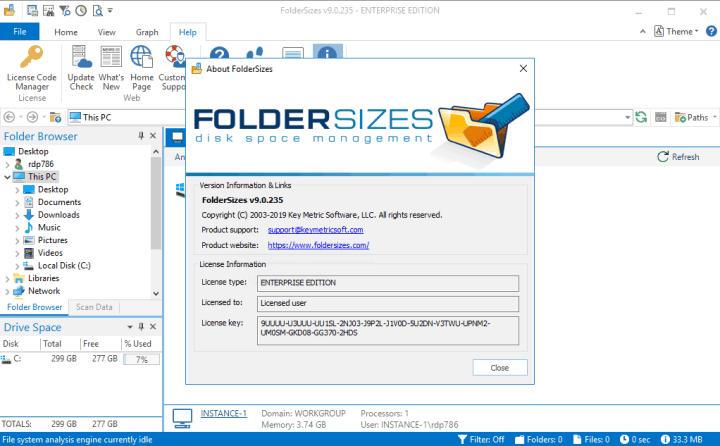 Key Metric FolderSizes Enterprise 9.0.235 Serial key