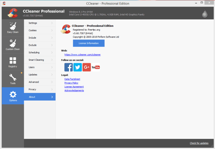 CCleaner Professional License Key 2019