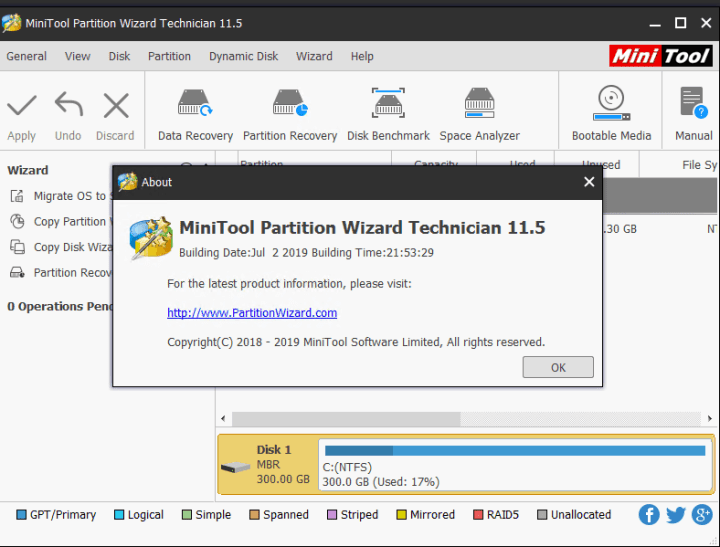 MiniTool Partition Wizard 11.5 Technician Key