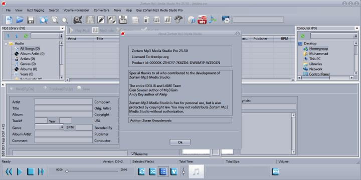 Clave serial Zortam Mp3 Media Studio Pro 25.50