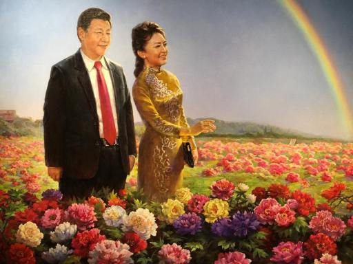 Xi, and his wife Peng Liyuan, survey the land Xi has stolen from China's people.