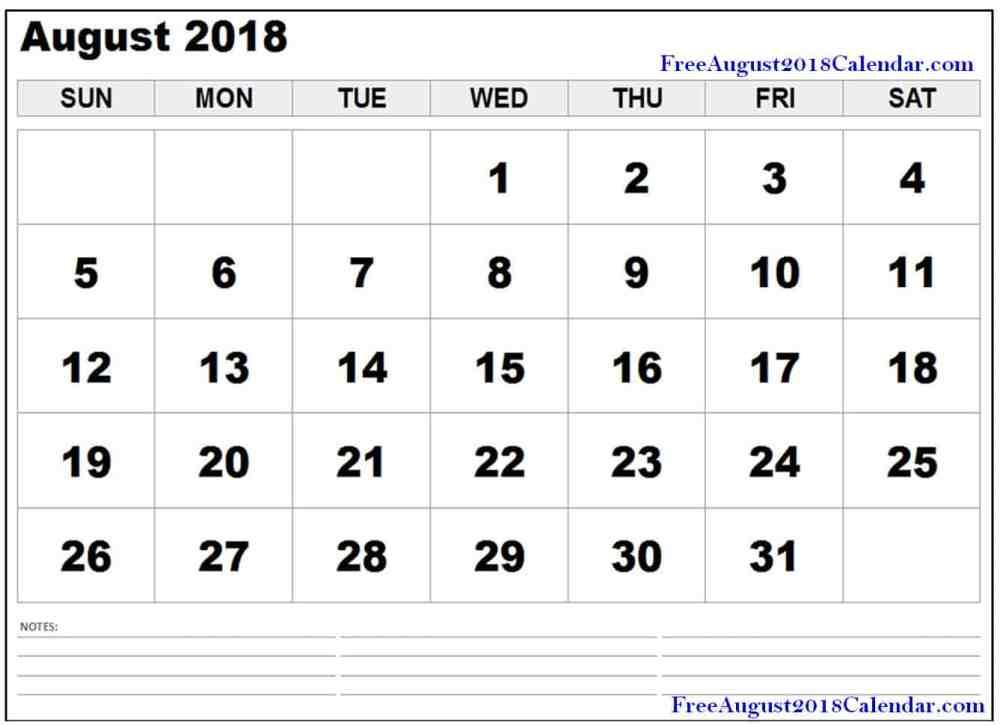 medium resolution of free august 2018 pdf printable calendar