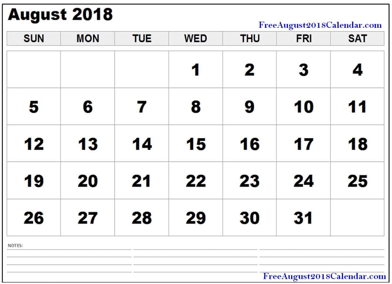 hight resolution of free august 2018 pdf printable calendar