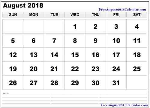 small resolution of free august 2018 pdf printable calendar