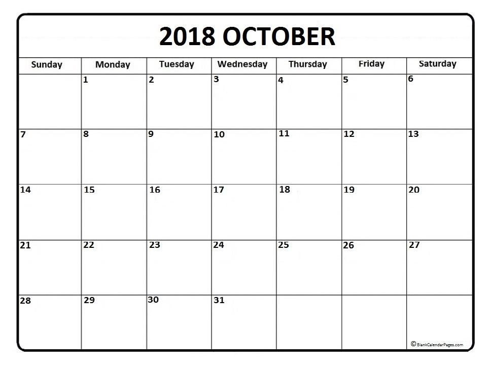 printable calendar for october