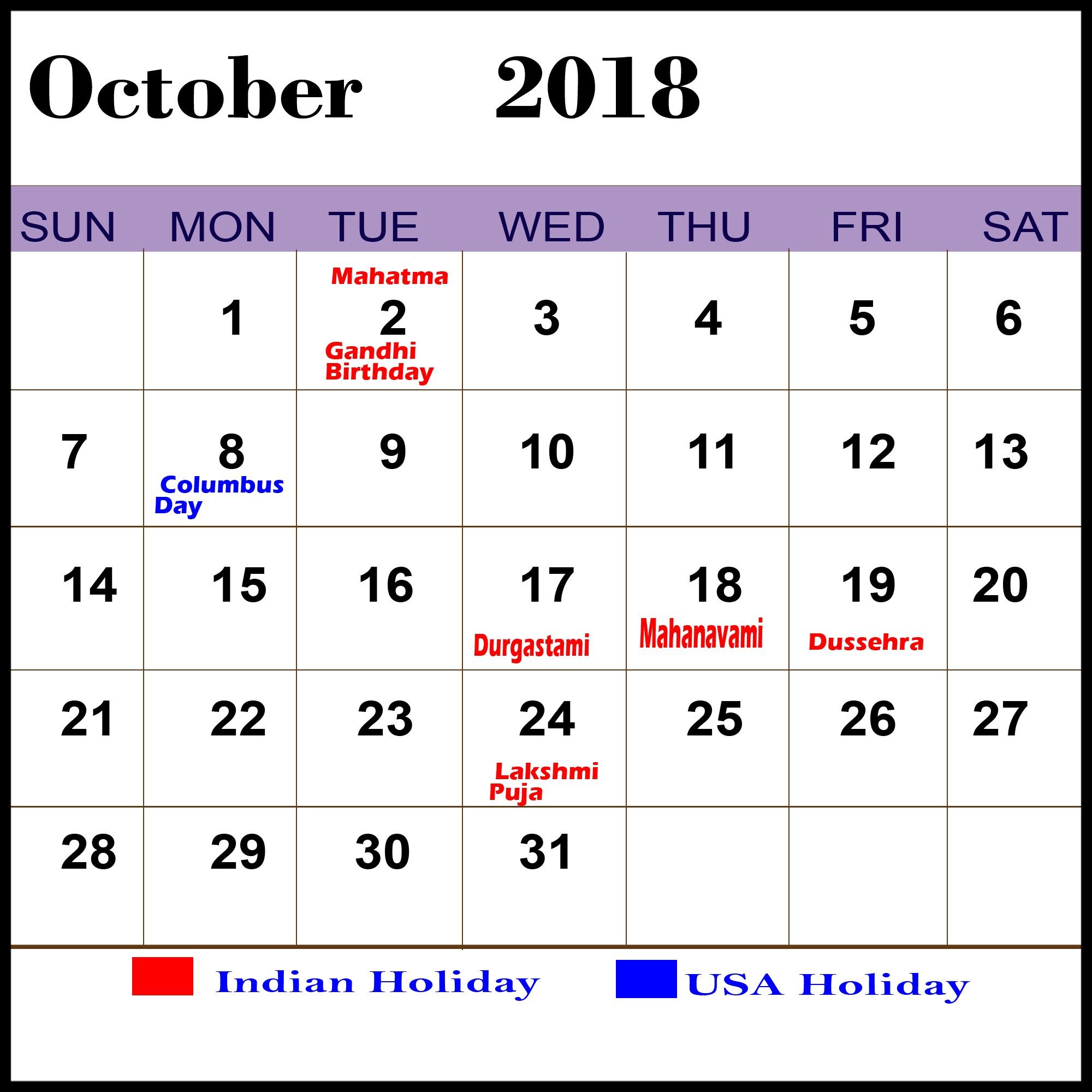 holiday calendar october 2018