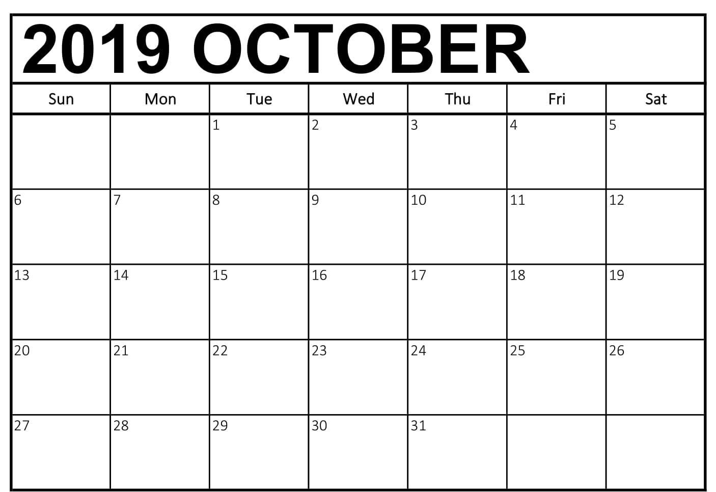 free october 2019 calendar
