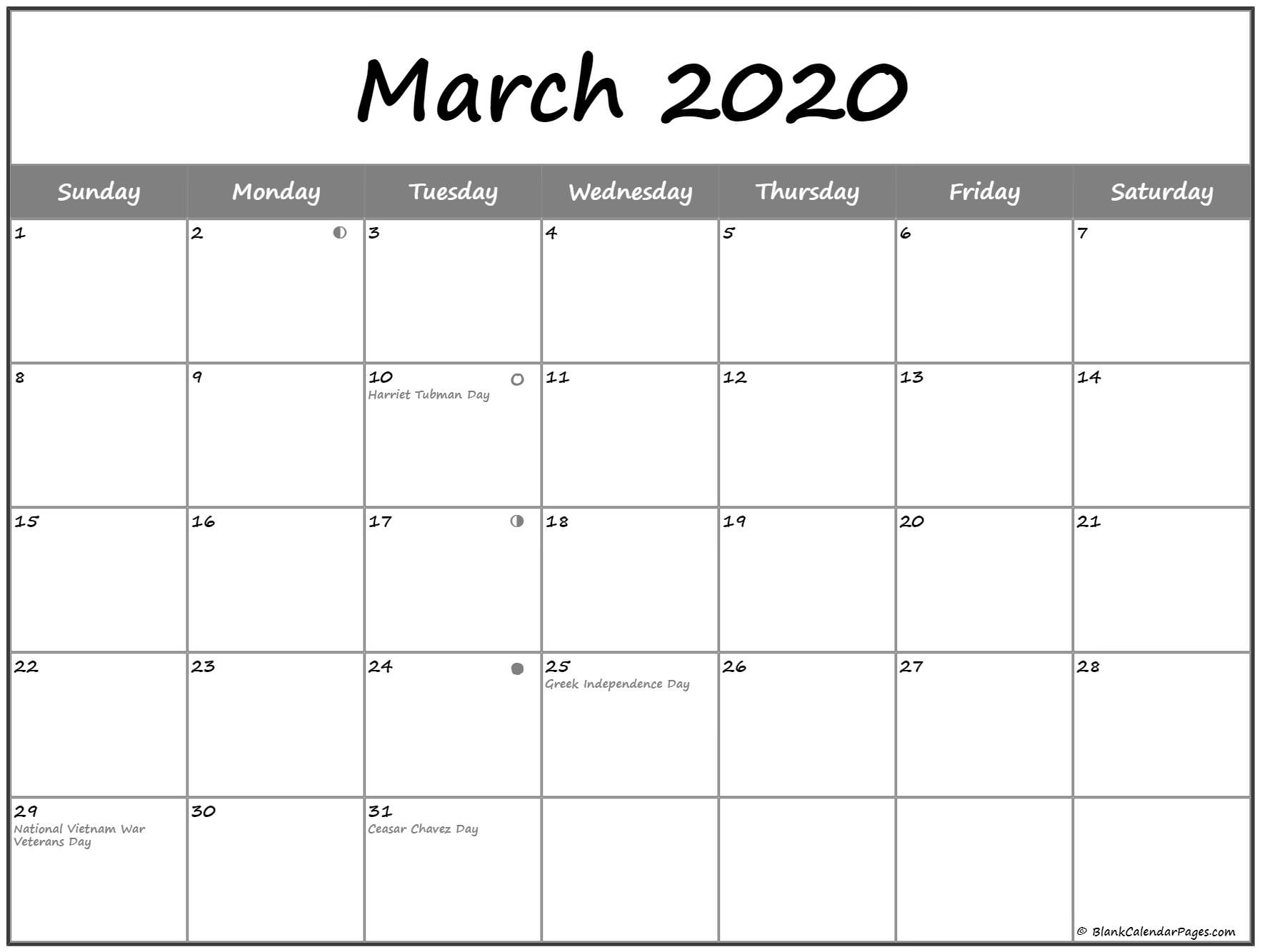 Full Moon March 2020 Lunar Calendar Phases Template