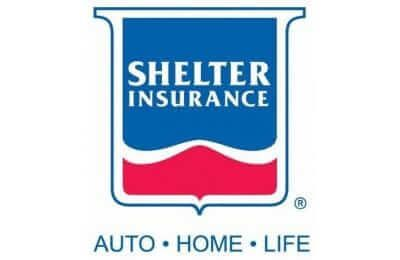 "FreeAxez Client- Shelter Insurance Logo - Red and blue - Text underneath ""Auto Home Life"""