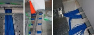 Raised access flooring cable wiring