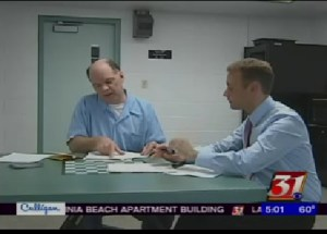 Bart McNeil is interviewed by CBS News reporter Jacob Long at Menard Correctional Facility January 2012