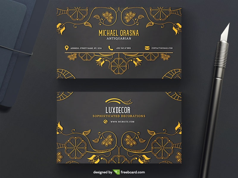 Luxury Business Card With Golden Ornaments Freebcard