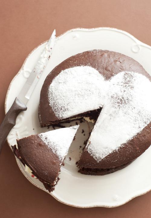 Image Of Slice Cut From A Fresh Chocolate Cake Freebie