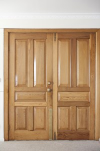 Image of Modern double wooden front door | Freebie.Photography