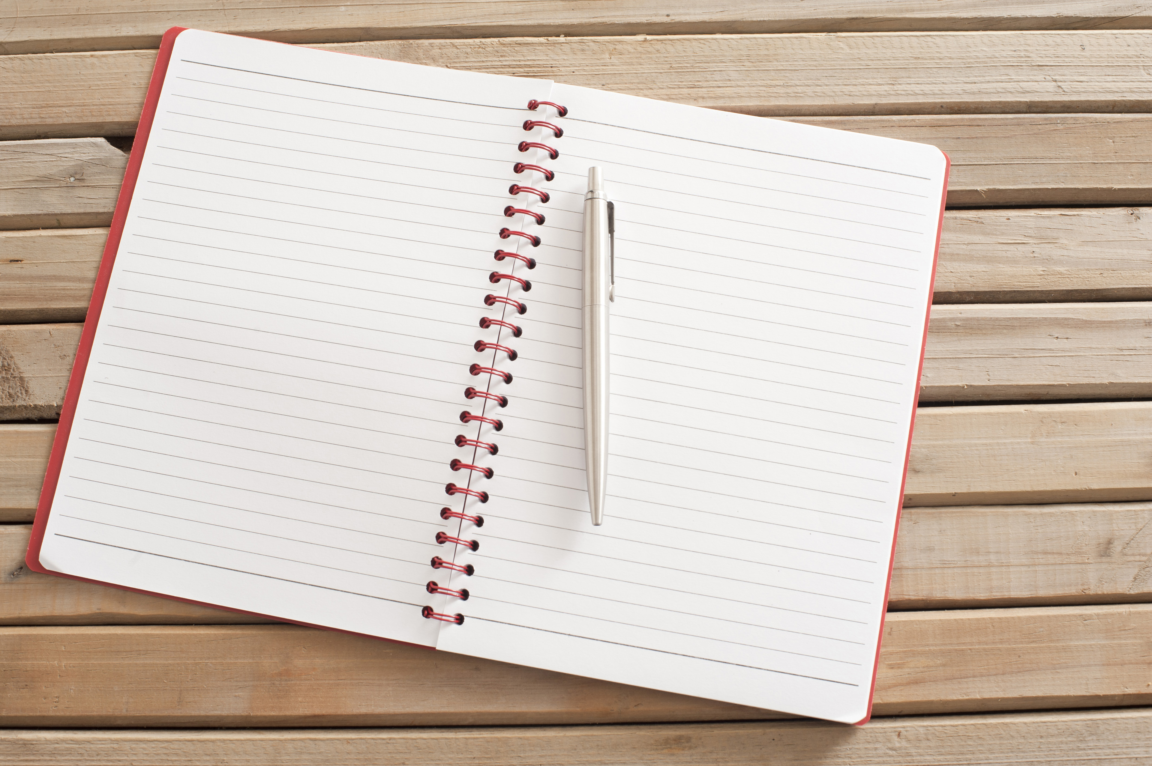 Image Of Open Blank Notebook With Pen On Wooden Table  Freebiephotography