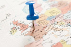 Image of Conceptual Blue Pin on Paris France Map | FreebiePhotography