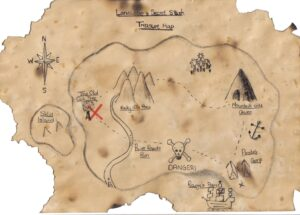 picture of a map for scavenger hunt as free summer activities for kids