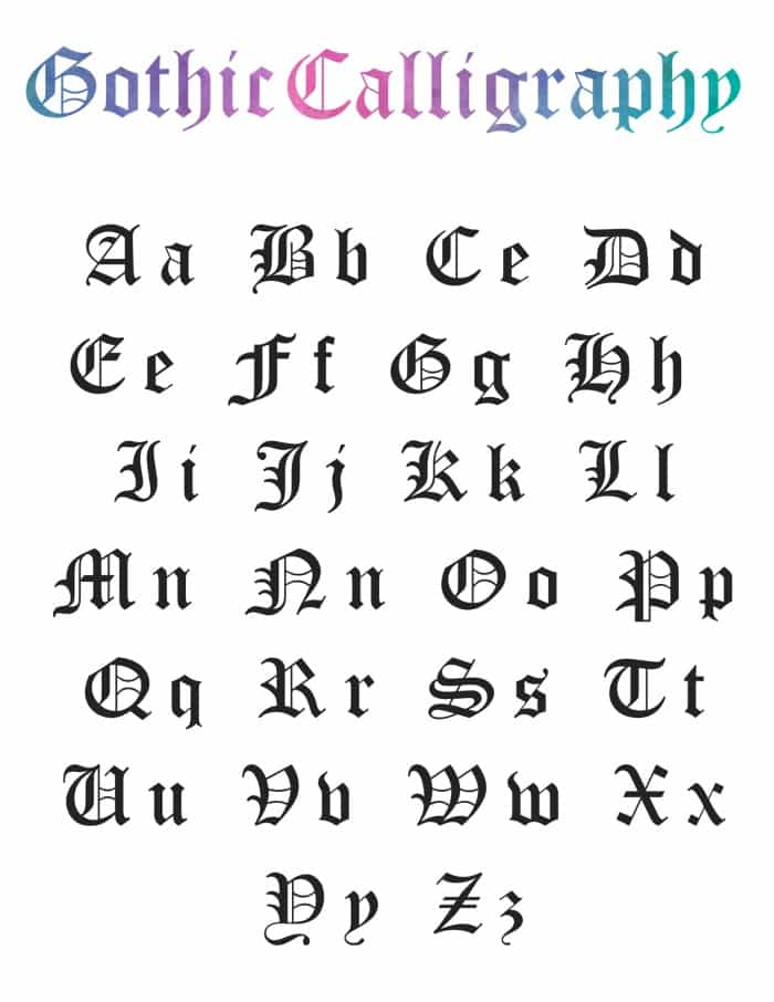 Gothic Calligraphy Numbers : gothic, calligraphy, numbers, Learn, Write, Gothic, Calligraphy, (Alphabet, Download, Free)