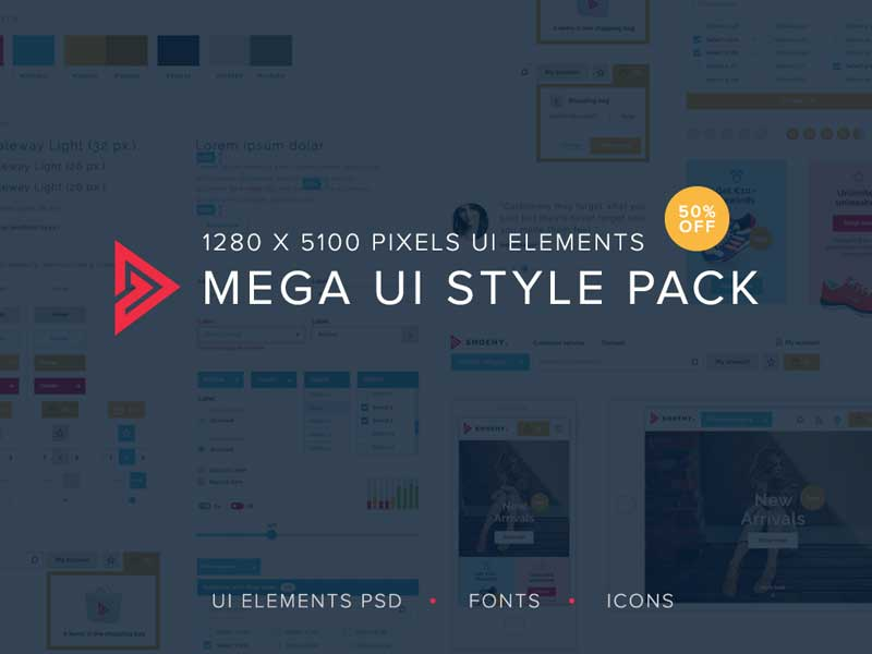 Download Download the Free Mega UI PSD Style Pack | Freebiefy