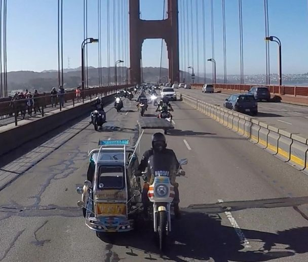 History made as Filipino-made tricycle cruises on the Golden Gate Bridge