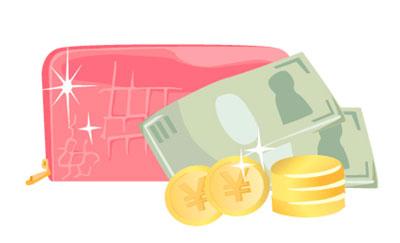 ピンクの長財布とお金を描いたフリーイラスト