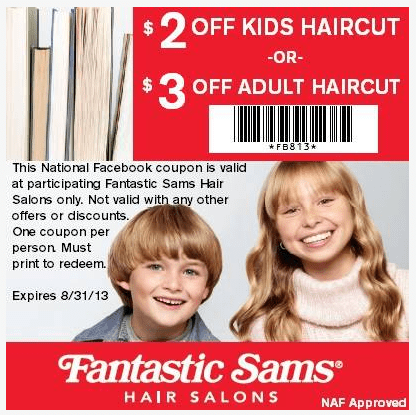 Fantastic Sams 200 Off Kids Haircut Printable Coupon
