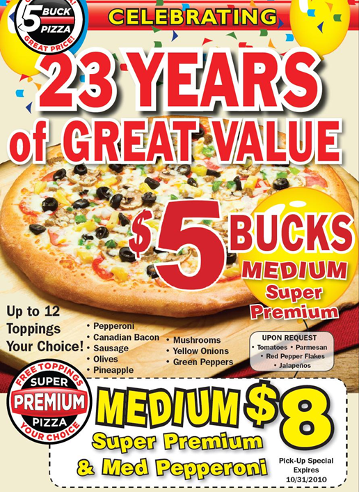 5 buck pizza special