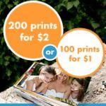 Snapfish 200 prints for $2, 100 prints for $1