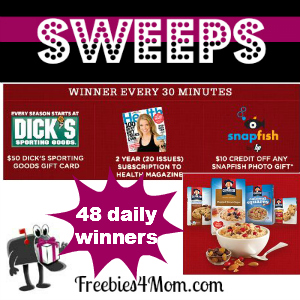 Sweeps Quaker Keeping You Going (48 Winners/Day)