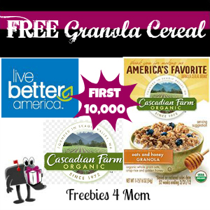 Free Sample Cascadian Farm Granola Cereal from Live Better America