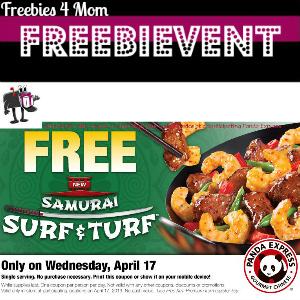 Free Samurai Surf & Turf at Panda Express April 17