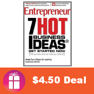 Deal $4.50 for Entrepreneur Magazine