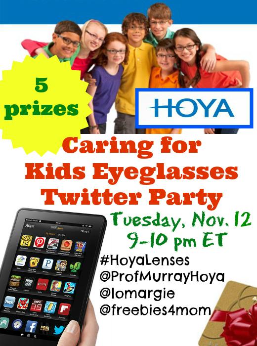 Hoya Caring for Kids Eyeglasses Twitter Party Nov. 12 9pm ET