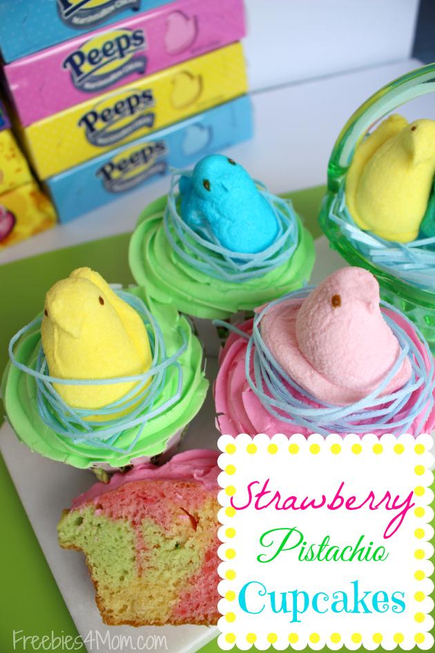 PEEPS Strawberry Pistachio Cupcakes