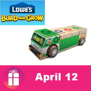 Free Recycling Truck Lowe's Kids Clinic April 12