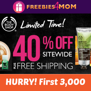 40 Percent off The Body Shop with FREE Shipping *first 3,000*