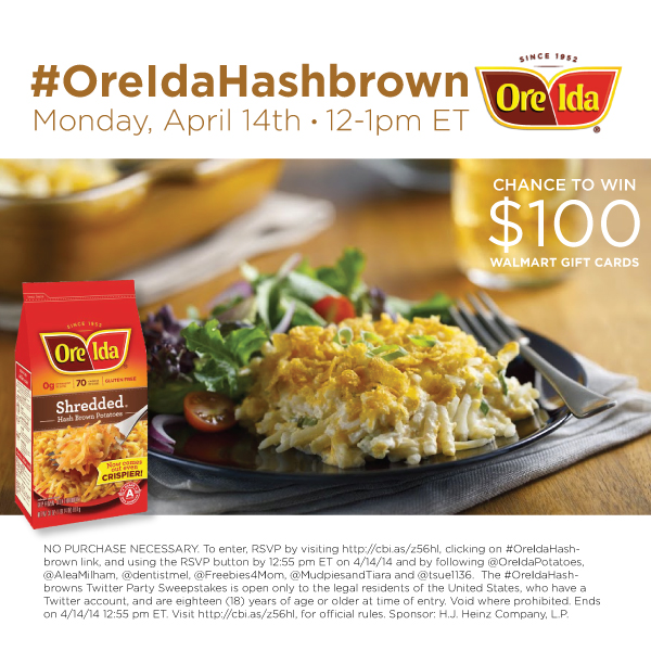 $550 in Prizes at #OreIdaHashbrown Twitter Party April 14, 2014 12-1pm ET