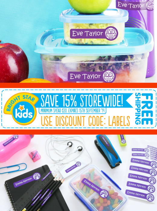 10 School Items To Label (Save 15% off Bright Star Kids School Labels)