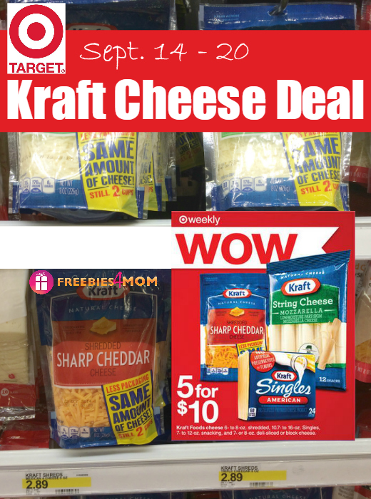 Kraft Cheese 5 for $10 at Target