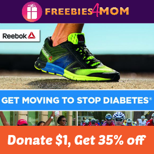 35% off Reebok.com when you Donate $1 to American Diabetes Association